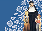 An image of Blessed Theresa of Jesus Gerhardinger and children with a blue, flowered background.