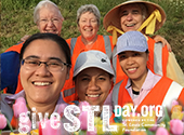A photo collage of sisters and associates who participate in adopt-a-highway to clean up trash located in St. Louis. Support SSND on May 7 for Give STL Day.