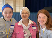 S. Josephine Neimann and two students Notre Dame High School in St. Louis enjoying a get nun buddies get together on May 9, 2019.