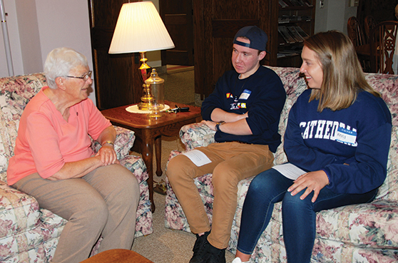 Sisters meet with MNSU students for a class centering on the Nun Study at Our Lady of Good Counsel. The photo was featured in photo for NoFest Octoberfest 2020.