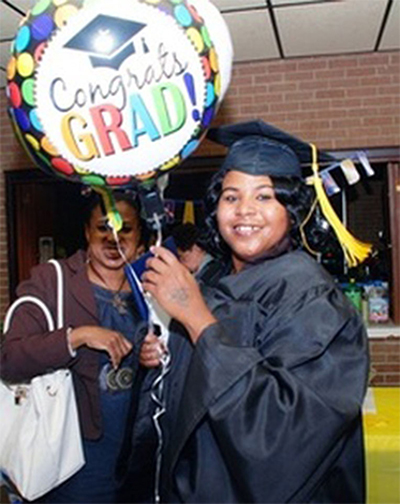 Student from PEPI at graduation