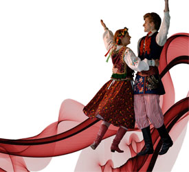 Polish Dancers, simple smokey red ribbon designed across a white background. Public Domain Picture: Red ribbon background