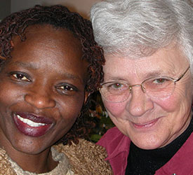 Sister Kathleen Spencer and a student at the East Side Learning Center.