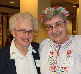 Photo of Sister Marie Estelle Kuczynski and Mary Martha Waligora at 2019 Polish Celebration held at Notre Dame of Elm Grove, Elm Grove, Wisconsin.