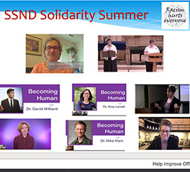 The first slide of the powerpoint used during Summer of Solidarity. The slide contains photos of all the speakers.