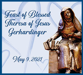 Image created for the Feast of Blessed Theresa 2021, which has a bronze statue of Blessed Theresa