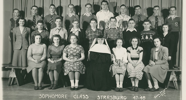 Sister Bernardia at St. Benedict, Strasburg (Courtesy of School Sisters of Notre Dame North American Archives)