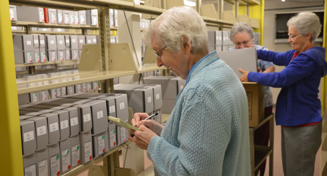 Archivist Sister Carol Marie Wildt and helpers pack up the St. Louis archives to ship to Mount Mary University in Milwaukee