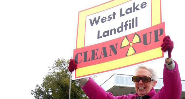 Sister Ginny Grumich protests the West Lake Landfill.