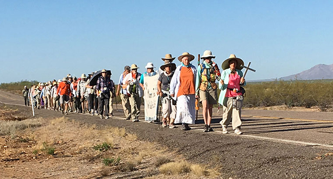 Sisters Lucy Nigh and Judy Bourg participated in a 75 Mile Migrant Trail Walk.