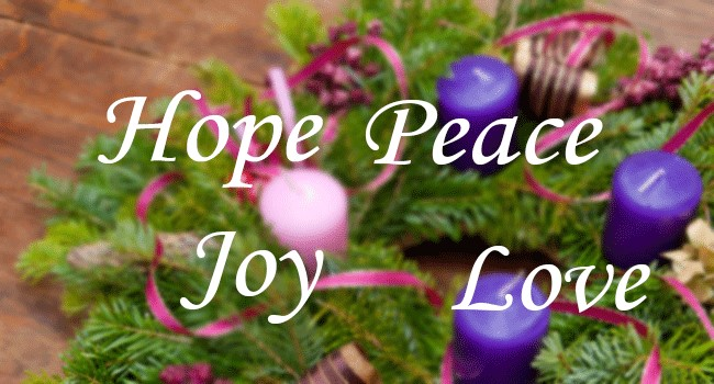 Advent wreath and the words Hope, Peace, Joy and Love.