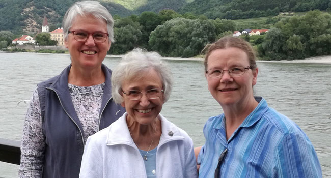 Sisters Helen, Jean and Martha on a river cruise down the Danube.