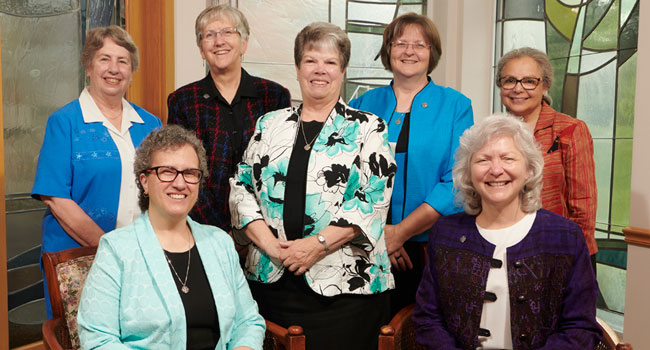 2019-2023 Central Pacific Province provicial council.  First row (1-r): Debra Marie Sciano (Provincial Leader) and Sisters Anna Marie Reha (Vicar)  Back row (l-r): Sisters Lynne Schmidt, Helen Jane Jaeb, Dawn Achs, Mary Kay Brooks and Christine Garcia
