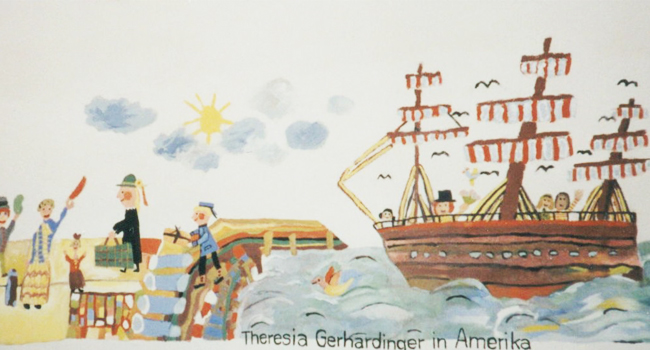 This is a drawing by a young student depicting Blessed Theresa and the boat she traveled on to North America.