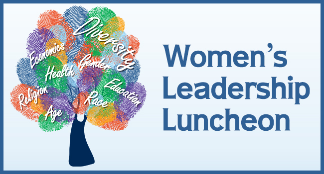 The 2020 Women's Leadership Luncheon image is of a tree with colorful finger prints and words such as Diversity, gender, education, health and education.
