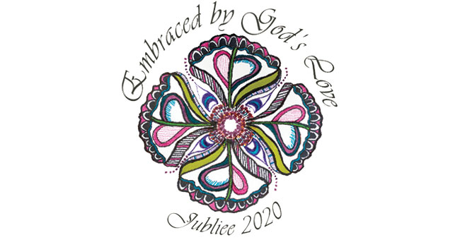 Embrace by God's Love, 2020 Jubliee, a design with green, pink, blue, purple and black.