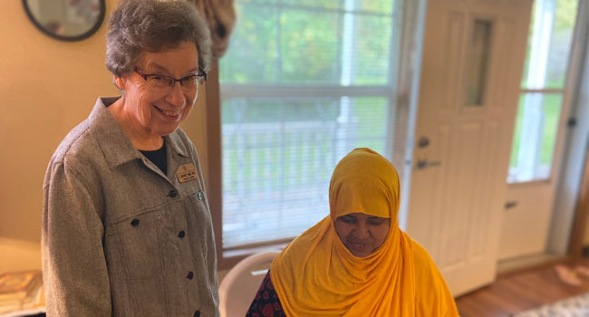 Sister Richarde' Marie Wolf coordinates the Good Counsel Learning Center's Refugee Outreach Program. She has the opportunity to go into the home and work with students.