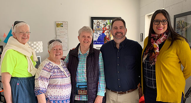 Sisters Jan Gregorcich, Pam Moehring, Elizabeth Swartz, along with Tim Dewane and Marisa Limón, the Deputy Director of Hope Border Institute,.