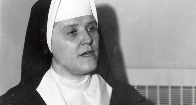 Sister Margaret Ellen Traxler in a photo from the 1960s shared from Archives.