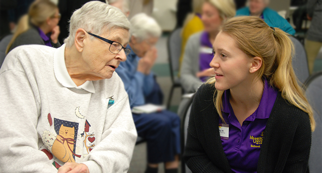 "Sister Cecile Schueller and Minnesota State University student, Emily Stai, meet as part of a class assignment to learn more about ""Aging with Grace."""