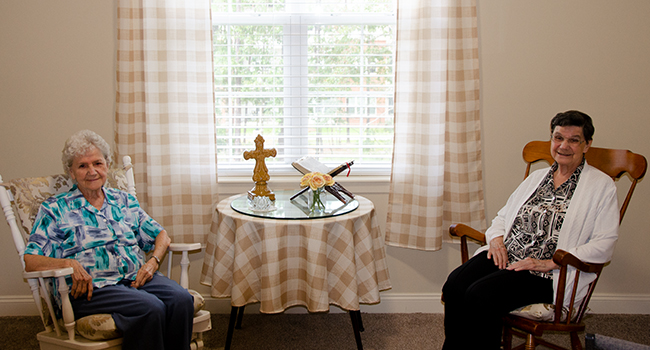 Sister Floretta Williams and Sister Marie Williams in their new rooms at St. Anthony's Gardens in Covington, Louisiana.