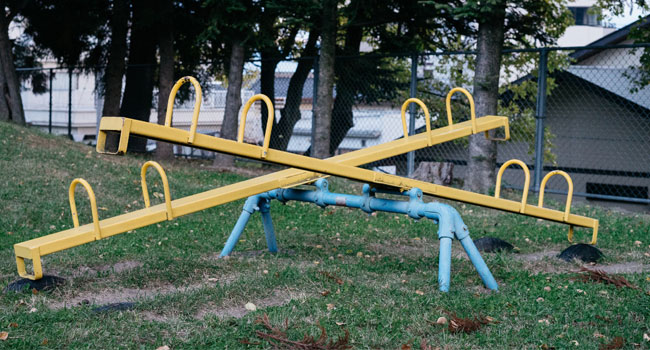 A photo of a teeter totter to go with Sister Mary Kay Brooks, Provincial Councilors, reflection on COVID-19 and the changes over the past few months.