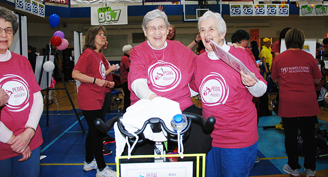Sisters, staff and associates of Our Lady of Good Counsel, Mankato, Minnesota, participated in Pedal Past Poverty.