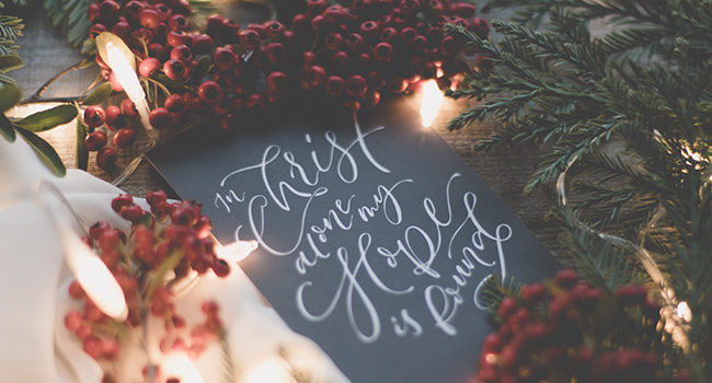 "A photo of Christmas sign that reads, ""In Christ alone my hope is found."""
