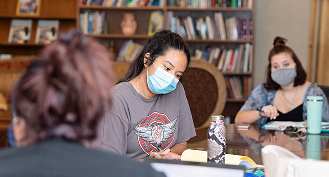 Mount Mary University in Milwaukee students wearing masks in class.