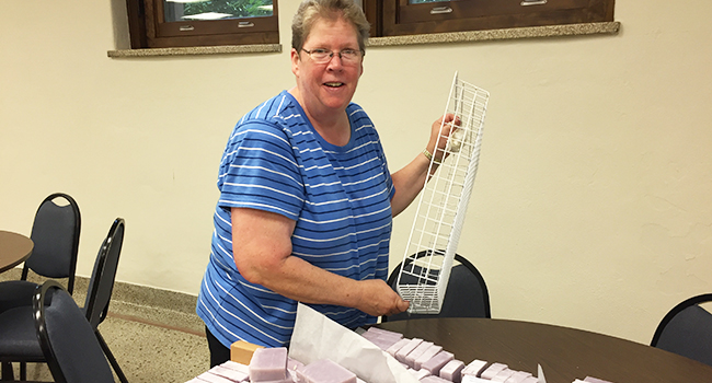 Sister Kathleen Bauer makes soaps at Our Lady of Good Counsel in Mankato, Minnesota.