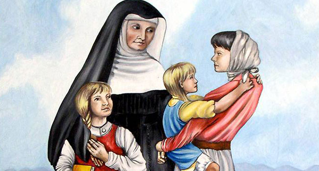 Painting of Blessed Theresa in Germany with three young girls.