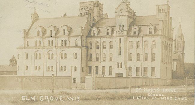 This is a photo of the orginial buildings of the convent and orpahange found at Notre Dame of Elm Grove, Elm Grove, Wisconsin,.