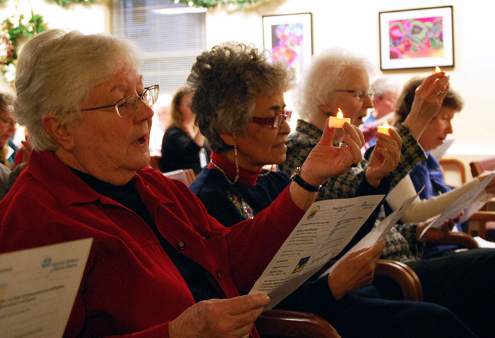 Sisters pray at the International Human Rights Day service at Notre Dame of Elm Grove.
