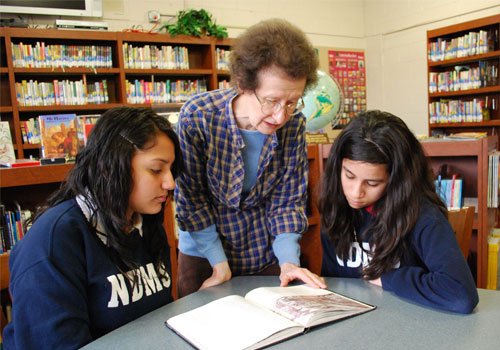 Sister Shannon Marie Scallon works with students at Notre Dame Middle School in Milwaukee.