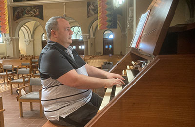 Michael Steimel is playing the organ at Our Lady of Good Counsel in Mankato, Minnesota.