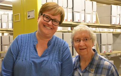 Sisters in St. Louis packed up the archives to send to their new home at Mount Mary University in Milwaukee. Michele Levandoski, Archivist and Sister Carol Marie Wildt pose for a photo.