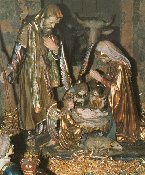 A picture of the almost 100 year old Nativity Scene in Theresa Center's Chapel at Sancta Maria in Ripa, St. Louis.