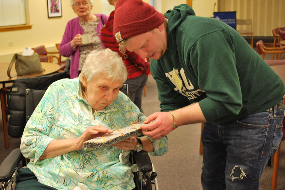 A photo of Sister Jean Hasenburg and Matt Pratt, an art therapy student at Mount Mary University