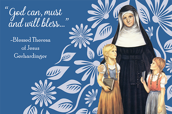 A photo of Blessed Theresa with children for the Blessed Theresa Appeal 2020.