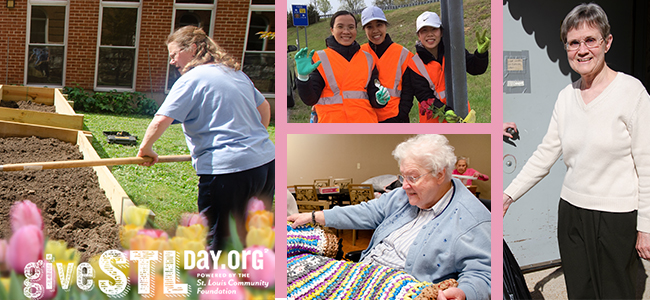A photo collage of sisters participating in care of creation initiatives thoughout St. Louis. Support SSND on May 7 for Give STL Day.