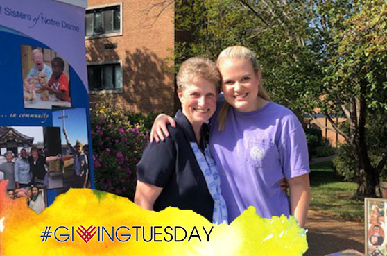 Sister Carol Jean Dust is a member of the SSND Vocations team. She attended a vocation event at St. Louis University in St. Louis in October 2019. This photo is for the #GivingTuesday campaign on November 30, 2021.