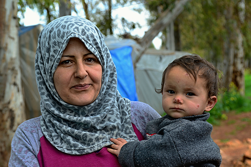 Portrait of refugees living homeless in Turkey.