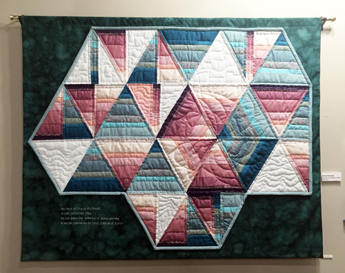 "Sister Josephine Niemann's quilt ""Climate Change"" is featured at the Good Shepherd Gallery in Ferguson, Missouri"