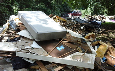 Cleanup begins at a home in Louisiana following the floods in August of 2016.