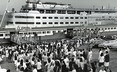 Sisters board the SS Admiral for a 3-hour cruise.
