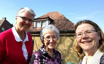 Sisters Martha Bertsch, Helen Plum and Jean Greenwald teach refugee boys in Eggenburg, Austria.