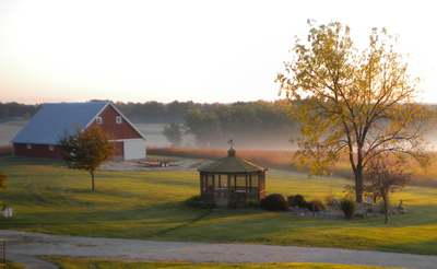 October sunrise at Our Lady of the Prairie Retreat in Wheatland, Iowa