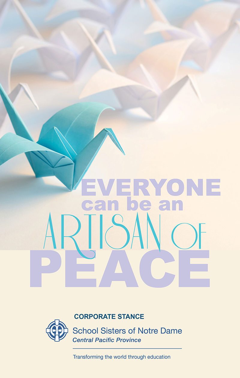 "Card designed by Sister Gen Cassani with origami birds and the words, ""Everyone can be an artisan of peace."" Image from Shutterstock."