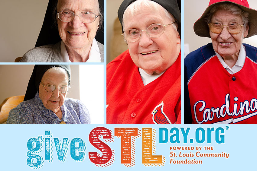 A collage of sisters at The Sarah Community, posing for pictures in their St. Louis Cardinal attire for Give STL Day, Wednesday, May 1, 2019.