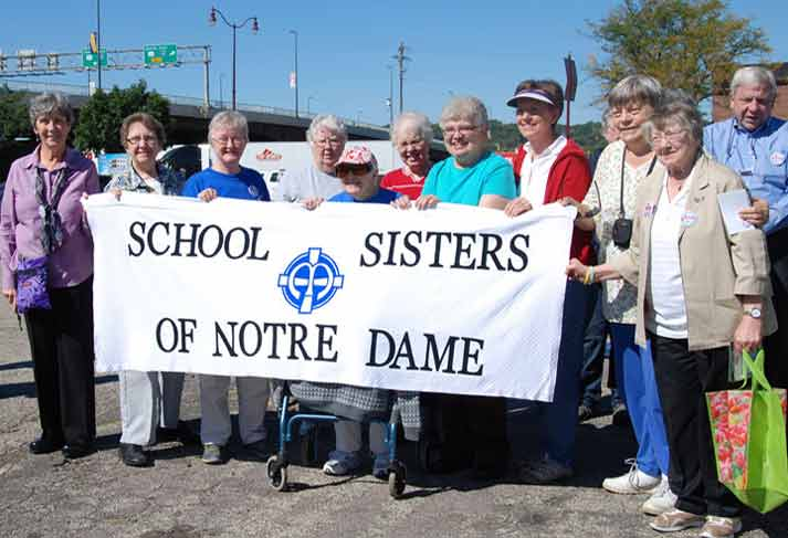 Sisters in Mankato, Minnesota, attend the Nuns on the Bus rally.